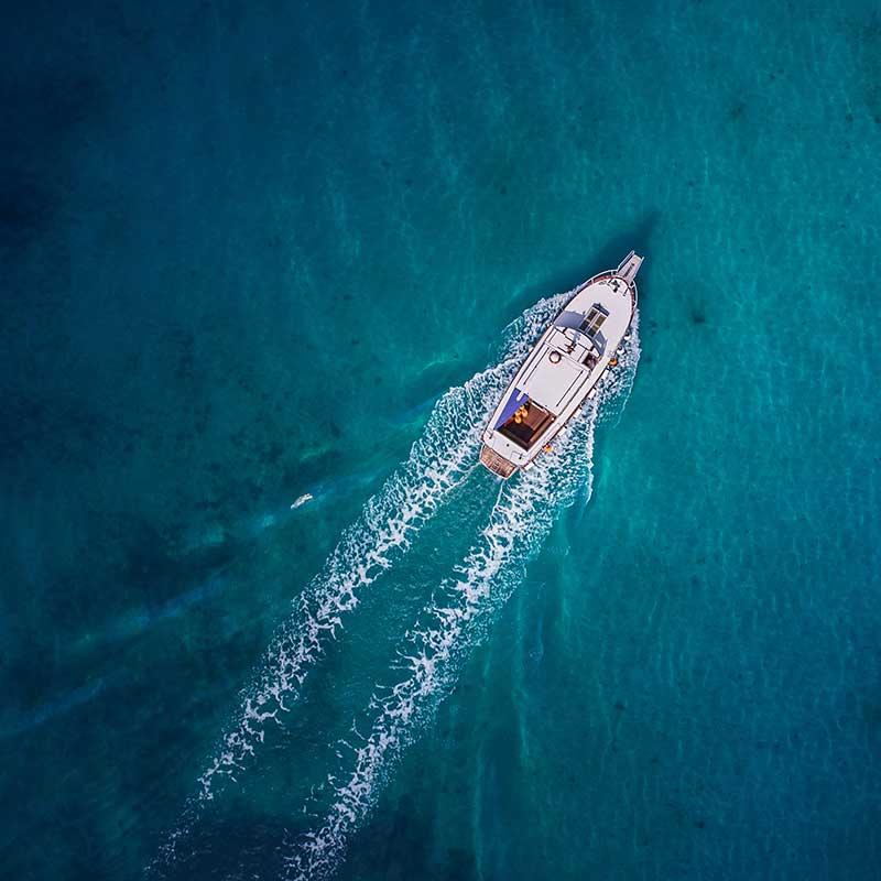 Boat cruising in open water