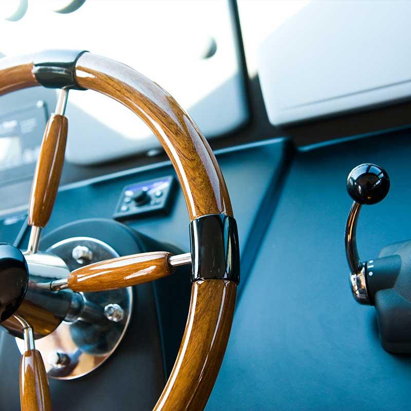 Steering wheel of boat